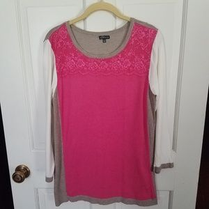Hannah pink and tan color-block sweater with lace